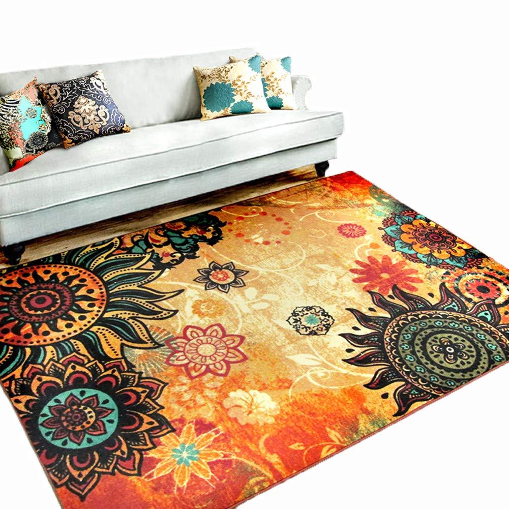 MeMoreCool Boho Area Rugs Retro Floral Home Living Mats Protective Decorative Carpets 1PC 75 X 98 Inch
