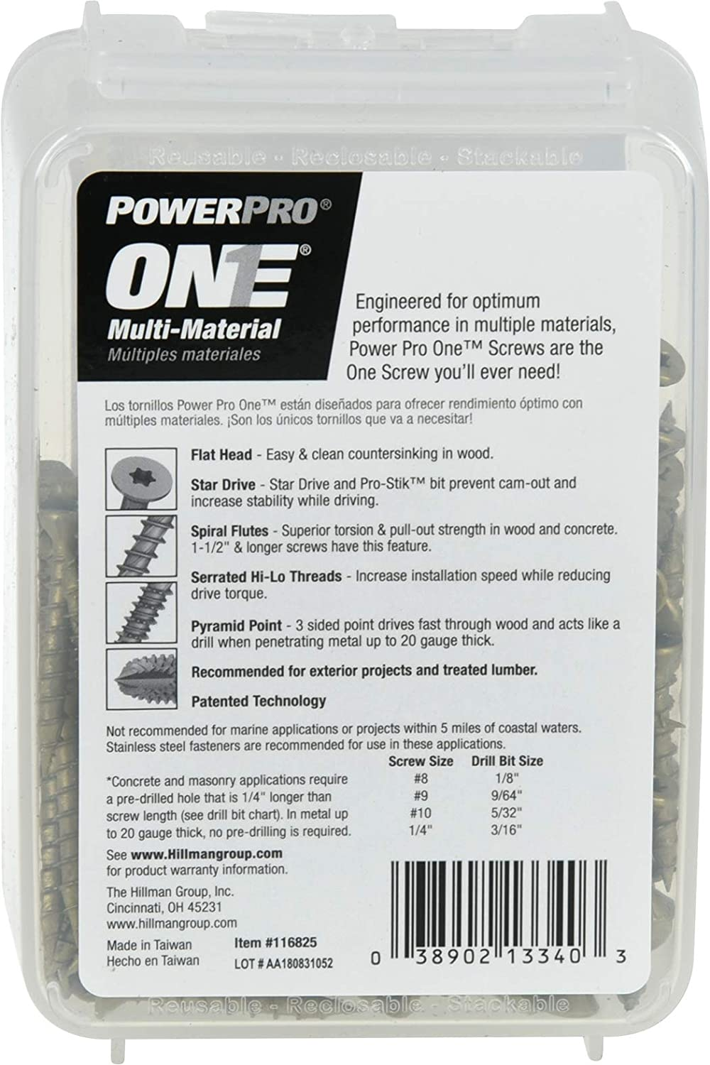 194 Piece Bronze Power Pro 116825 Multi-Material Screws