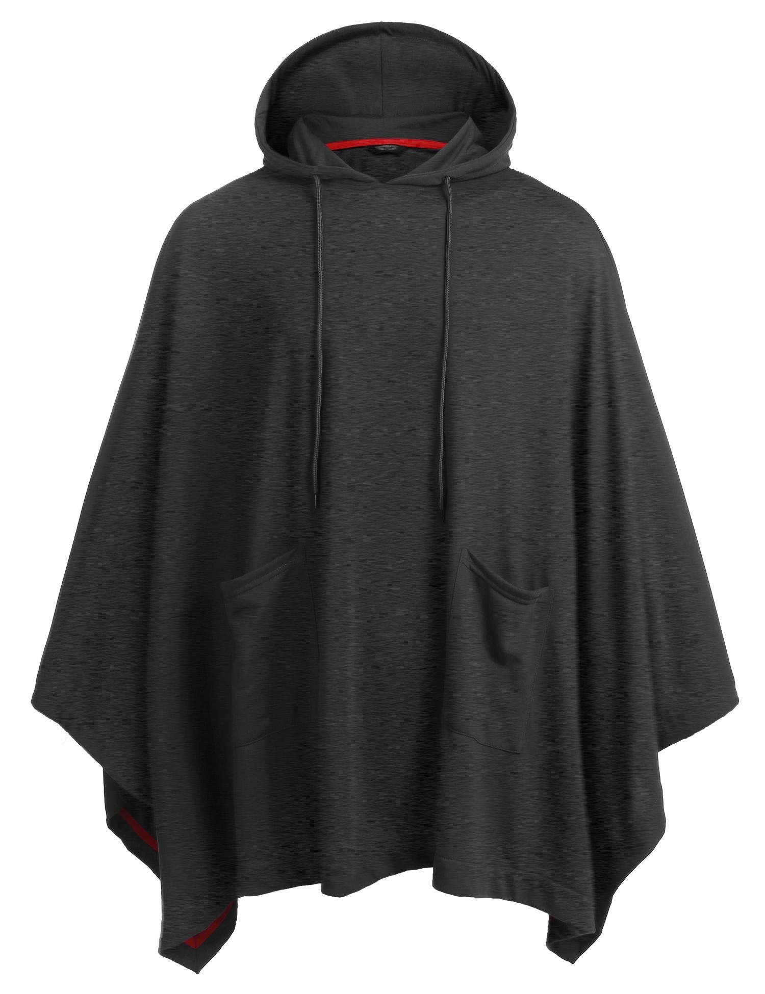 COOFANDY Unisex Casual Hooded Cloak Poncho Cape Coat With Pocket,Dark Grey,X-Large