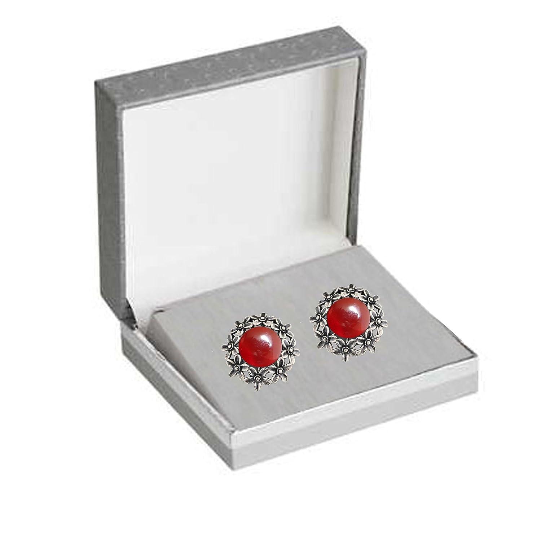 Vintage-Style Gift Cufflinks Carnelian Gemstones /& Sterling Silver Handmade