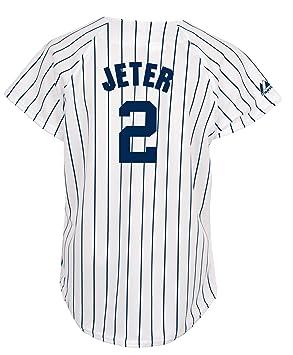 a5efe2cfb02 Majestic MLB New York Yankees Derek Jeter Women s White Navy Fashion Replica  Jersey