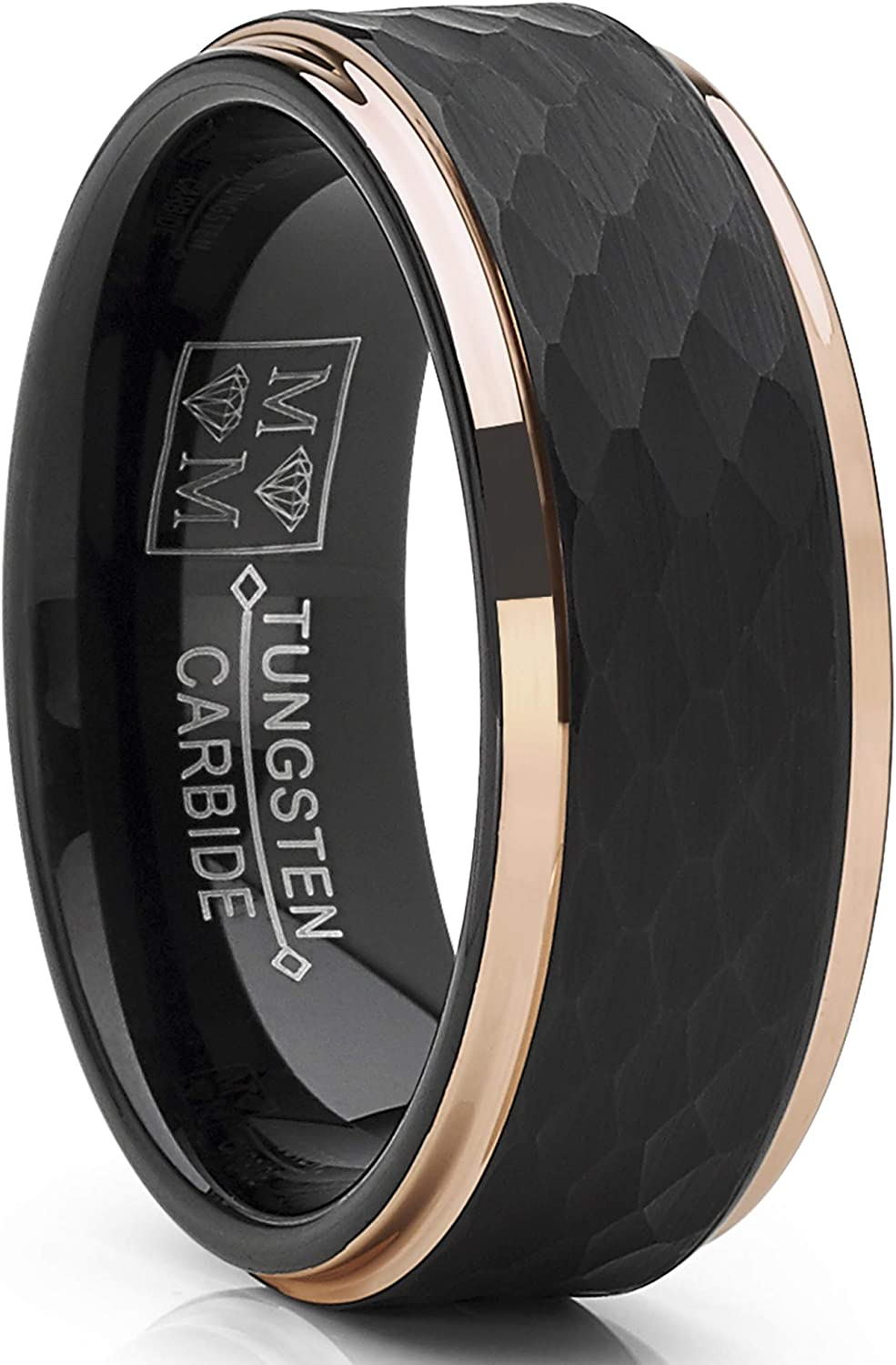 Metal Masters Co. Men's Tungsten Carbide Wedding Ring Black and Rose Goldtone Hammered Band