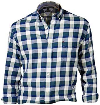 701f5623 Tommy Hilfiger Mens Checkered Long Sleeve Button-Down Shirt (Green, Small)
