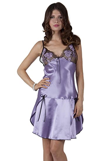 41093f8f3 Miorre Satin Chemise with Ruffle Skirt and Lace V-Neck