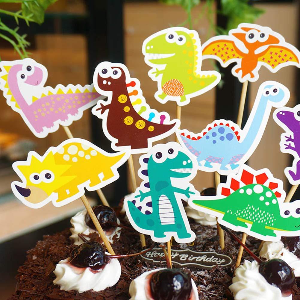 Amosfun 9pcs Torta Toppers del Dinosauro Decorazione della Torta del Fumetto Dinosauro Cupcake Toppers Cocktail per i Bambini Decorazione di Festa di Compleanno Forniture