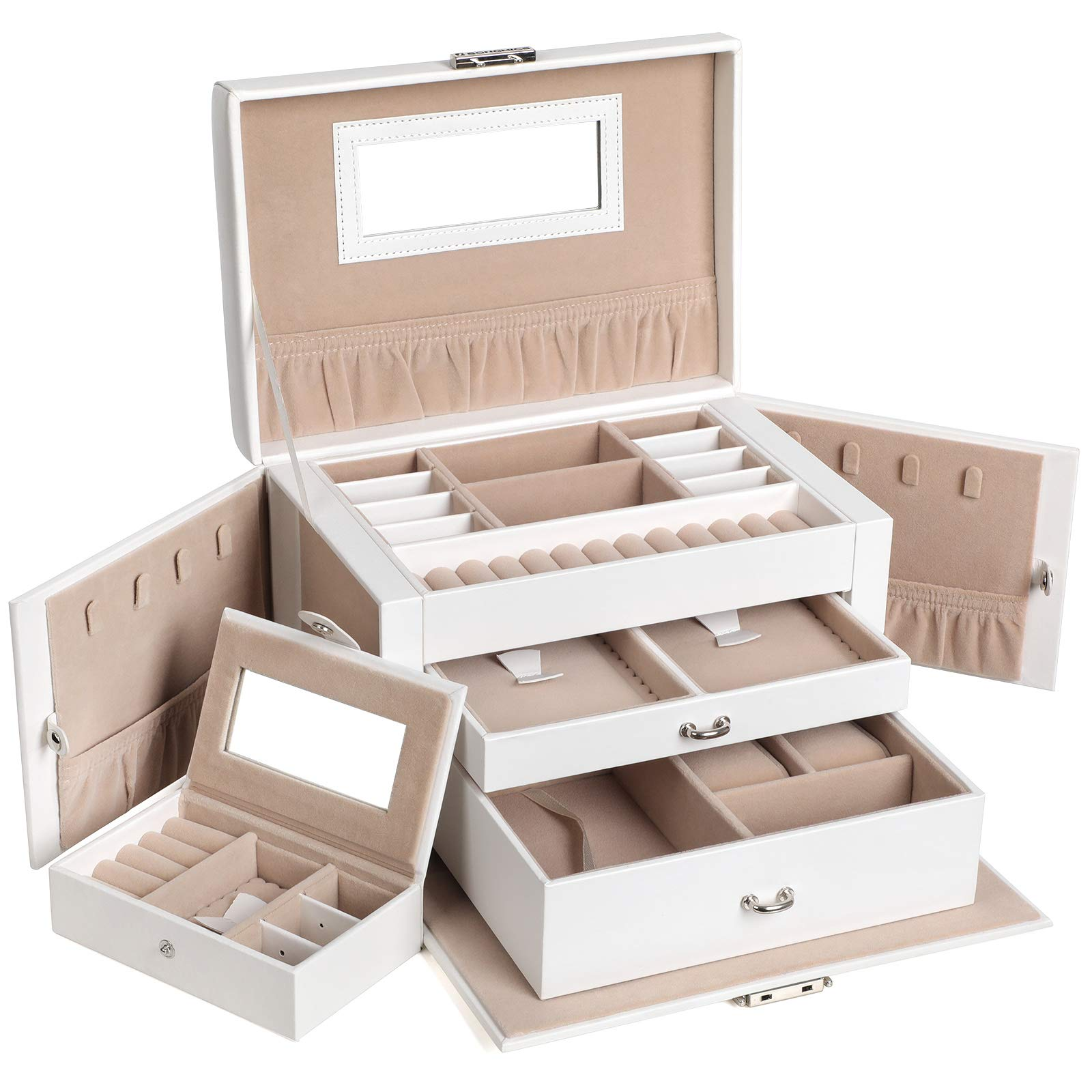SONGMICS Jewelry Box, Girls Jewelry Organizer, Mirrored Mini Travel Case, Lockable, White UJBC121W by SONGMICS