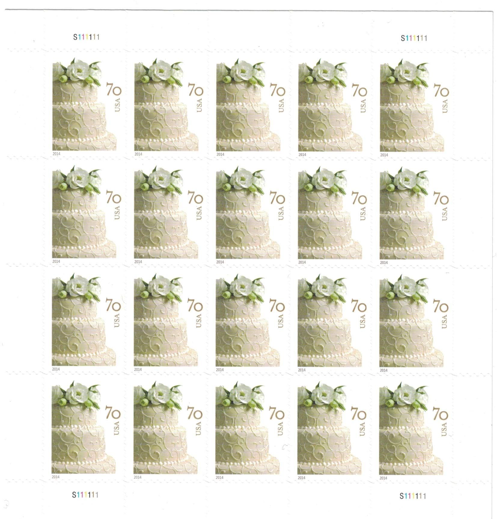 USPS Wedding Cake 70-Cent Two-Ounce Stamp Sheet of 20 (2 Ounce Rate)
