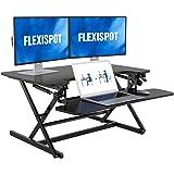 FLEXISPOT Height Adjustable Standing Desk Converter | 35 inch Stand Up Desk Riser, Black Home Office Desk Workstation…