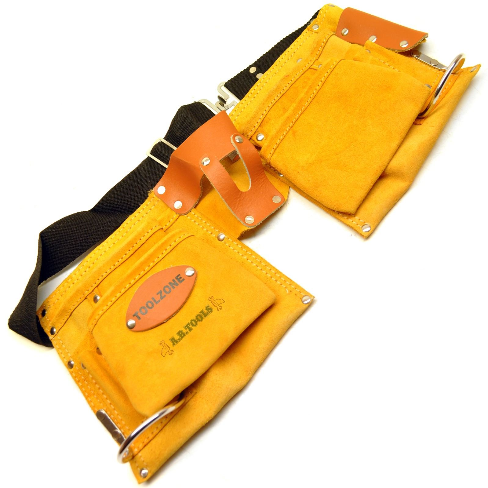 Suede Leather 10 Pocket Double Tool Roll Pouch Holder with Adjustable Belt T571