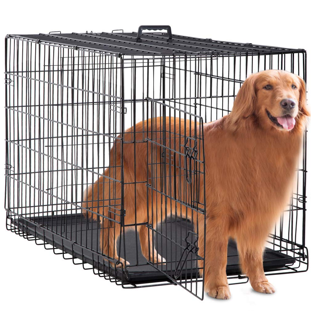 BestPet Large Dog Crate Cage Metal Wire Kennel Double-Door Folding Pet Animal Pet Cage with Plastic Tray and Handle,48''