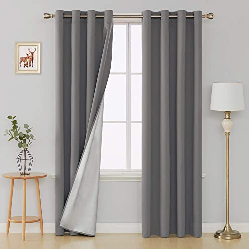 Deconovo Thermal Insulated Blackout Curtains Grommet Window Decorative Energy Saving Home Office Drapes with Coated Silver Back for Baby Bedroom 52W x 95L Inch Light Grey 2 Panels