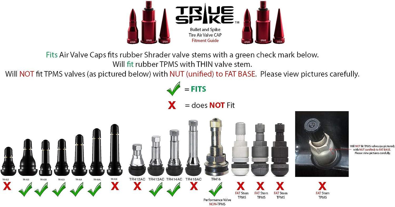 2 Billet Aluminum Red Spike Tire Valve Stem Caps for Harley Davidson Wheel Rim