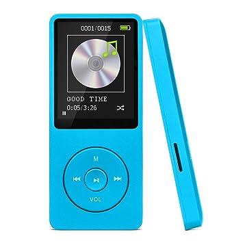 Reproductor de MP3, SAVFY 8GB MP3 Reproductor de Música 16-19 Horas de Trabajo y Soporte Hasta 32 GB de Tarjeta Micro SD para 4000 Canciones, Azul