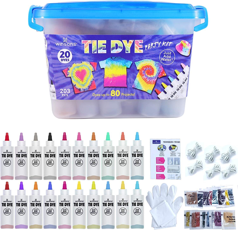 WINSONS Tie Dye Kit, 20 Colours Non Toxic Permanent Fabric Dye Art Set 26% OFF £17.35 @ Amazon