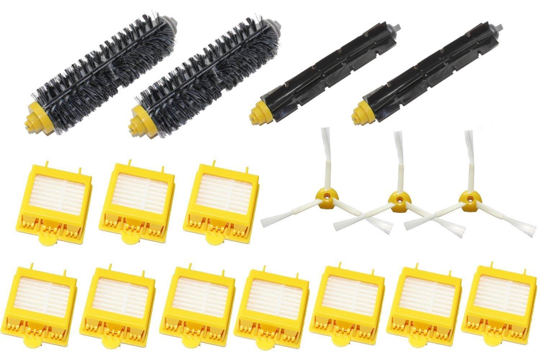 LOVE(TM) 3-Armed Side Brush & Hepa Filters & Bristle Brush & Flexible Beater Brush Pack Kit for Robot 700 Series 760 770 780 790 Vacuum Cleaning Robots