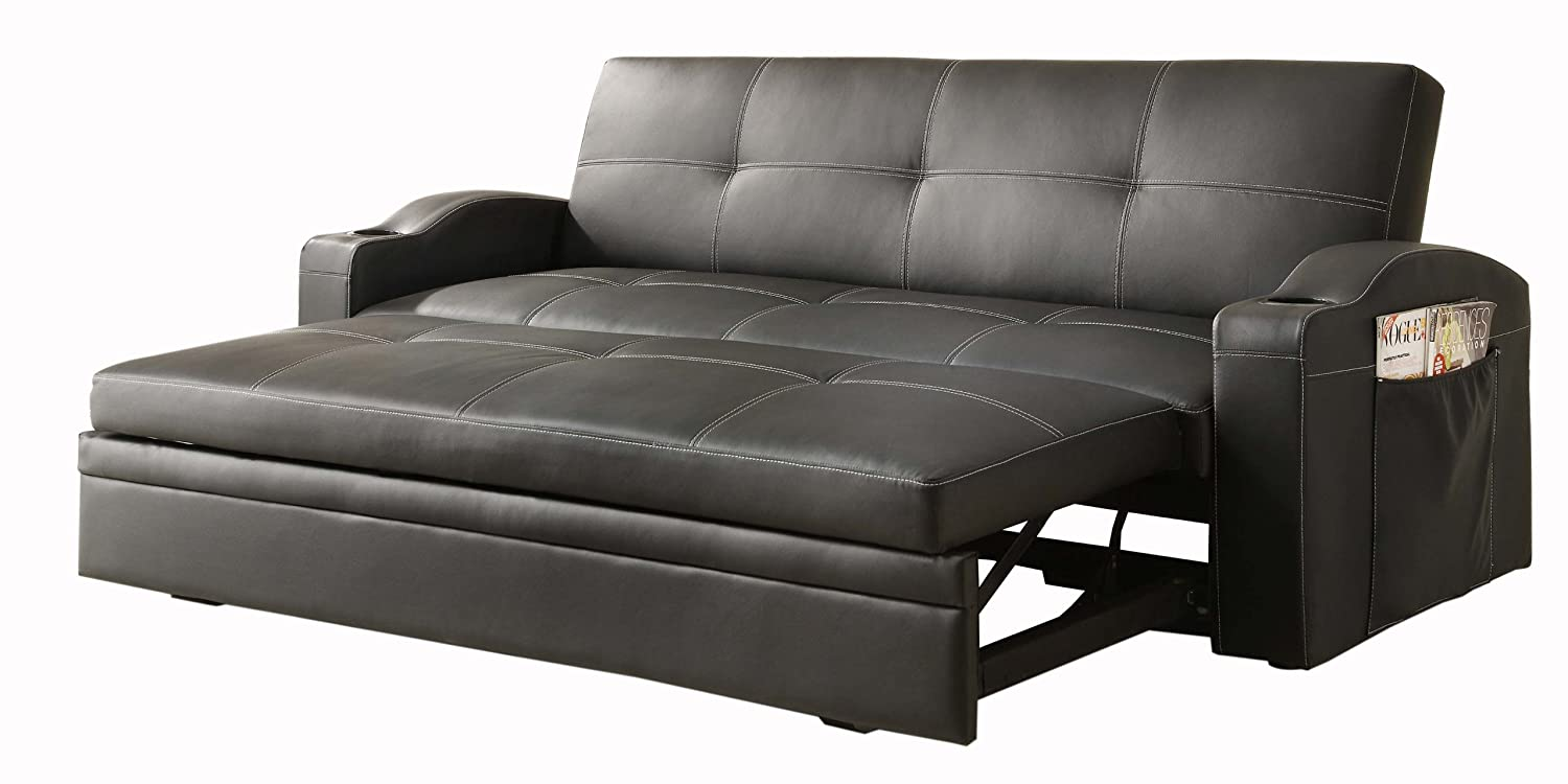 amazon.com: homelegance 4803blk convertible/adjustable sofa bed, black  bi-cast vinyl: kitchen u0026 dining M182IF13