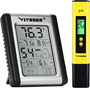 VIVOSUN Digital Indoor Thermometer and Hygrometer and PH Meter