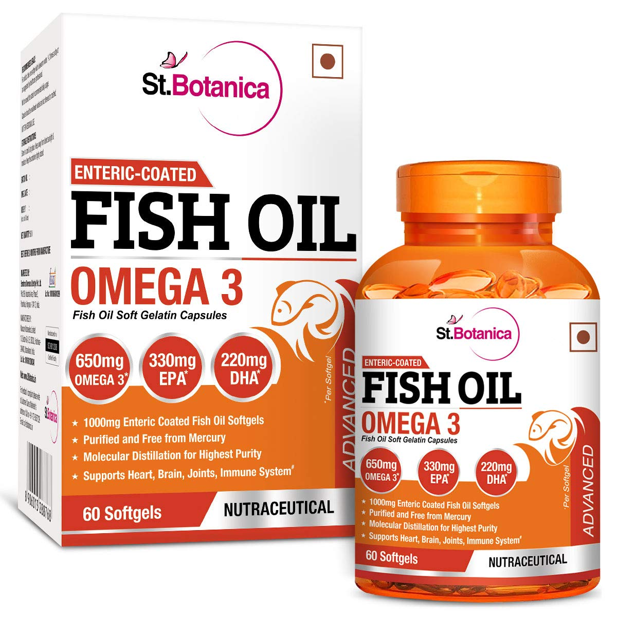 StBotanica Fish Oil Omega 3 Advanced 1000mg (Double Strength) 650mg Omega 3 - 60 Enteric Coated Softgels product image