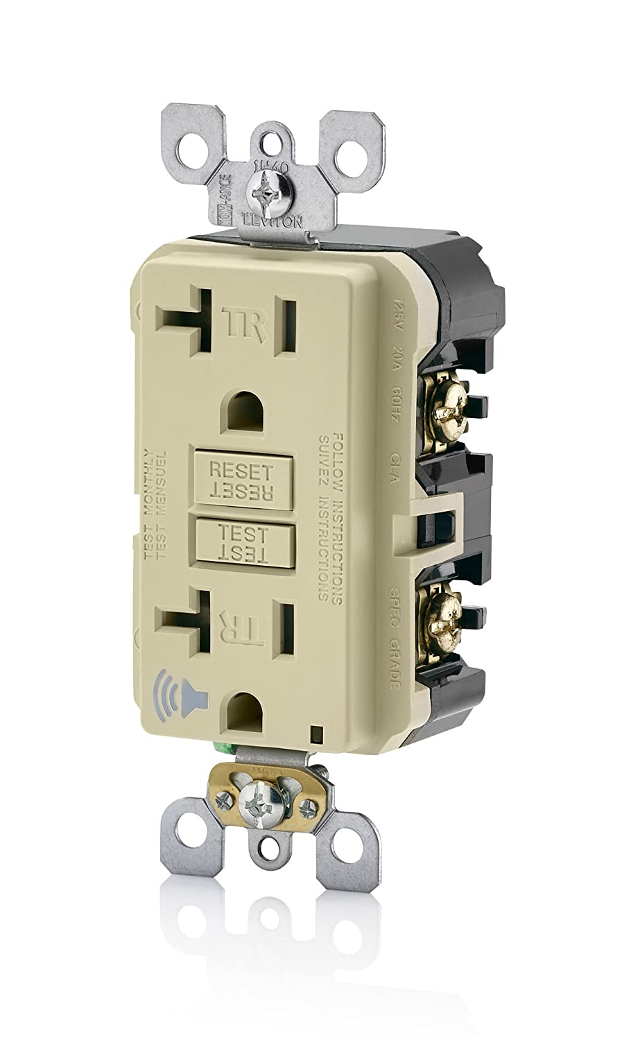 Leviton A7899 I Smartlockpro Slim Gfci With Audible Trip Alert 20 Series High Withstand Voltage Tester Has Exclusive Smart Gfi Circuit Amp 120 Volt Ivory