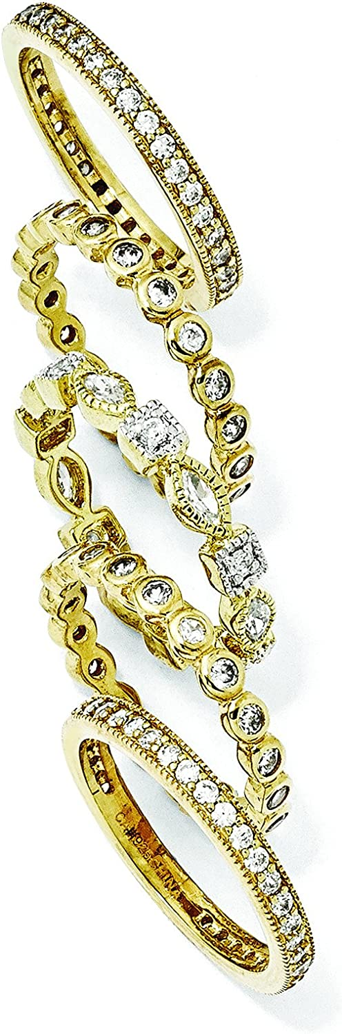 Gold-Plated Sterling Silver Cz Eternity Five Ring Set