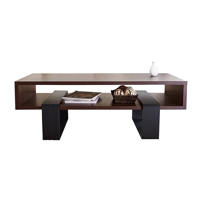 Amazon ioHOMES Monroe Rectangular Coffee Table Walnut and