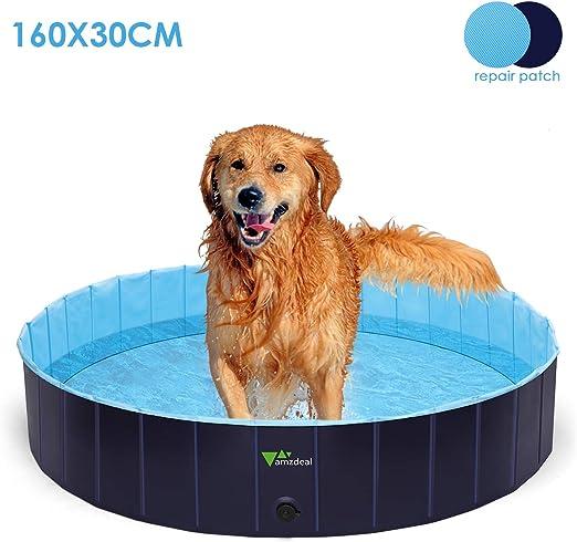 amzdeal 600L Piscina para Perros - Bañera Plegable para Mascotas ...