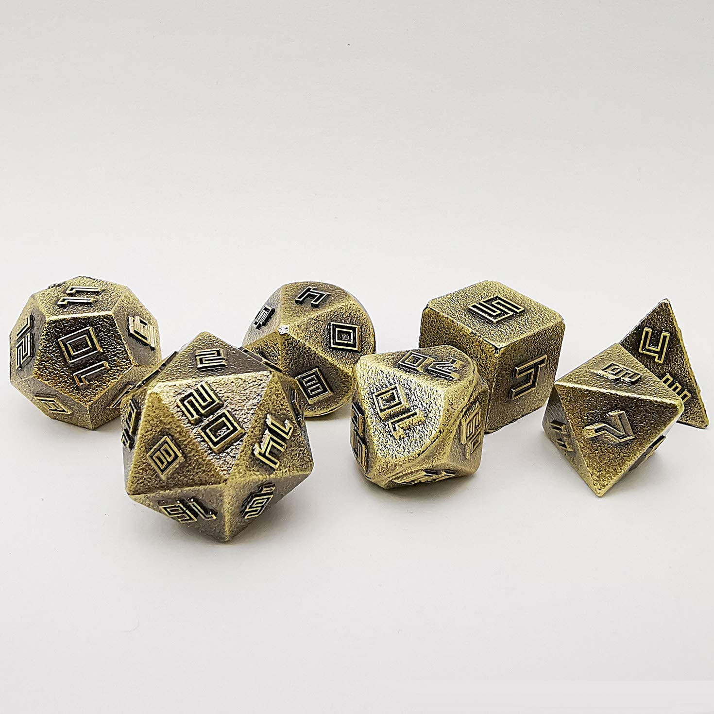 Amazon Com Bescon Brass Ore Lode Solid Metal Dice Set Raw Metal Polyhedral D D Rpg 7 Dice Set Sports Outdoors