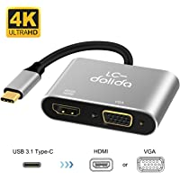 USB C to Hdmi Adapter, USB 3.1 Type C to Vga Hdmi 4K UHD Converter Adapter