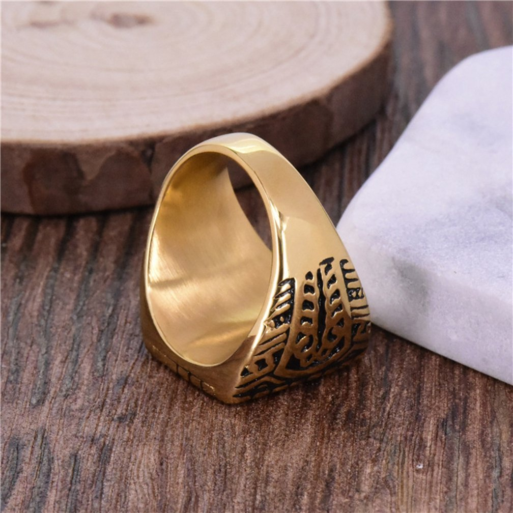 SAINTHERO Men's Stainless Steel Islam Religious Band Vintage Gold Black Muslim Square Signet Rings Hip-hop Jewelry Size 8 by SAINTHERO (Image #4)