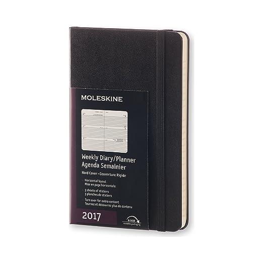 18 opinioni per Moleskine Pocket Agenda Settimanale Orizzontale, 12 Mesi, Copertina Rigida, Nero