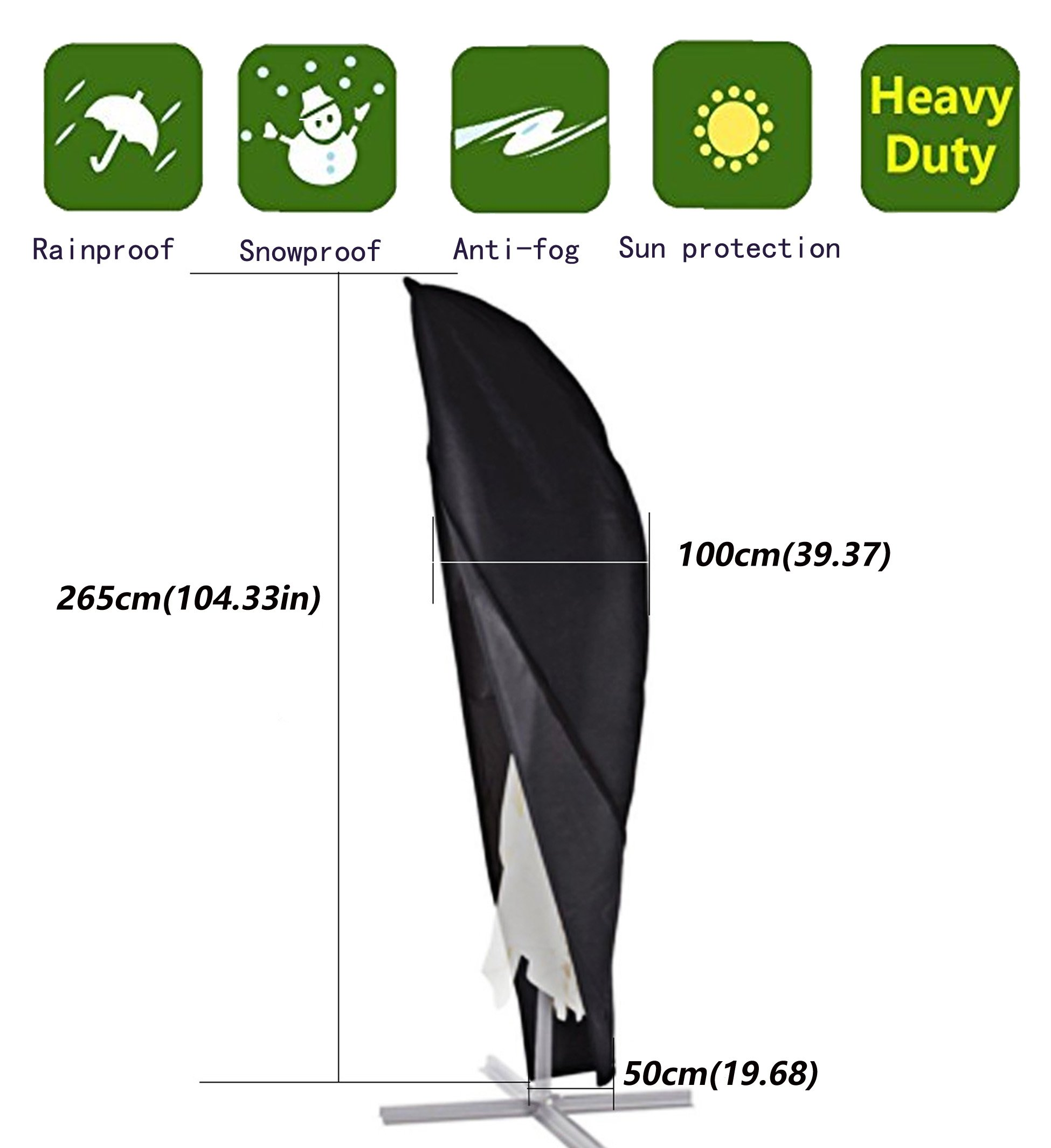 Anderlay Parasol Covers Zipped Parasol Cover Cantilever Parasol Covers Umbrella Covers Balck