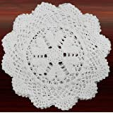 Creative Linens 6PCS 10 Inch Round Handmade Cotton Crochet Lace Doilies with Hearts White, Set of 6 Pieces For Valentine…