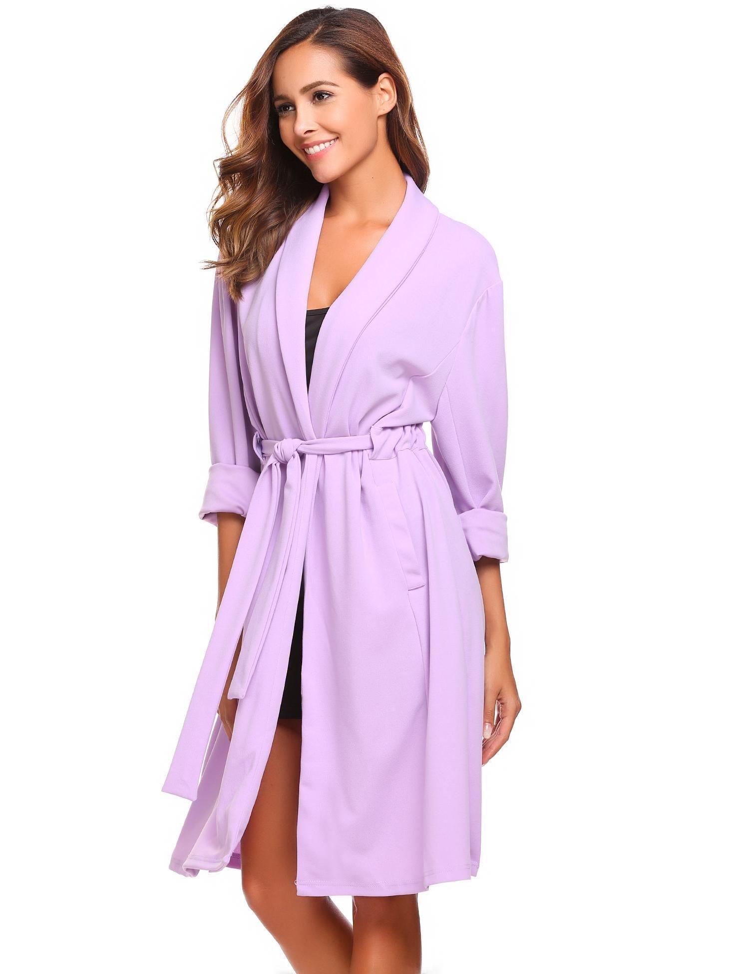 etuoji Women Waffle Dressing Down Bathing Robe for Spa Hotel Sleepwear(Light Purple,Size XL)