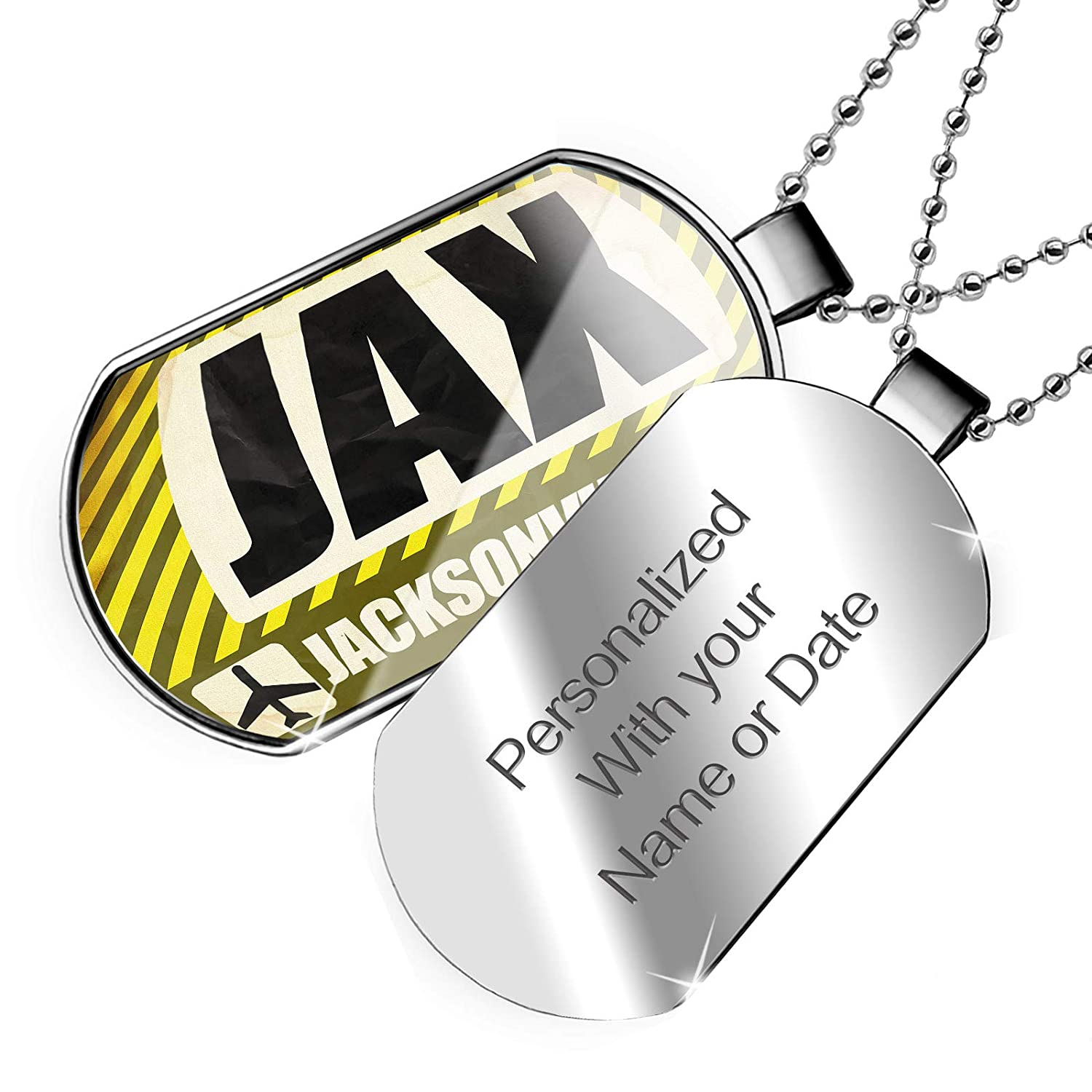 FL Dogtag Necklace NEONBLOND Personalized Name Engraved Airportcode Jax Jacksonville