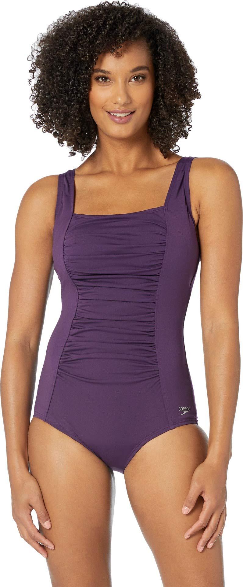 Speedo Women's Endurance+ Shirred Tank Onepiece Swimsuit, Gravity, 6