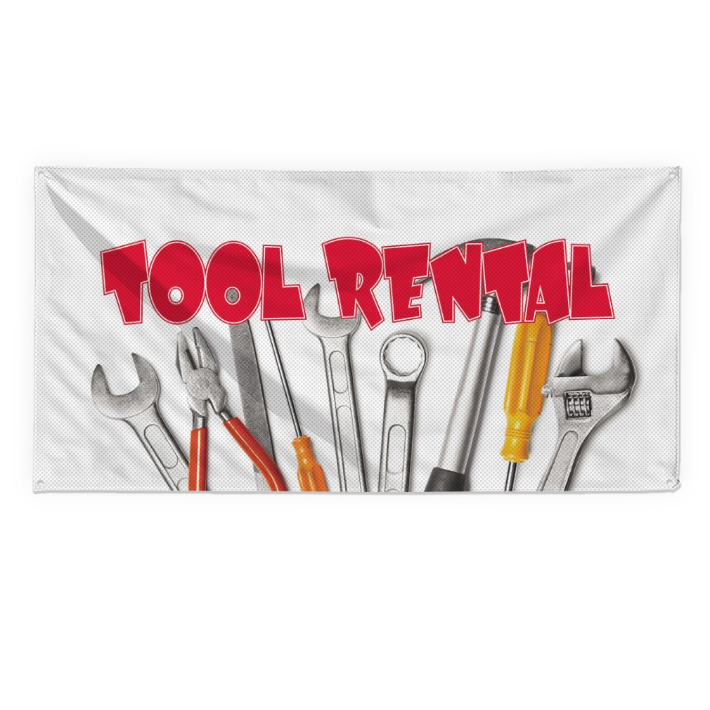 Tool Rental #3 Outdoor Fence Sign Vinyl Windproof Mesh Banner With Grommets - 2ftx3ft, 4 Grommets