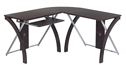 Amazoncom Office Star X Text L Shaped Computer Desk With Pullout