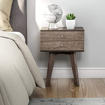 Mid Century Modern Bedroom Nightstand With 2 Storage Drawers Wood Accent Bedside Table