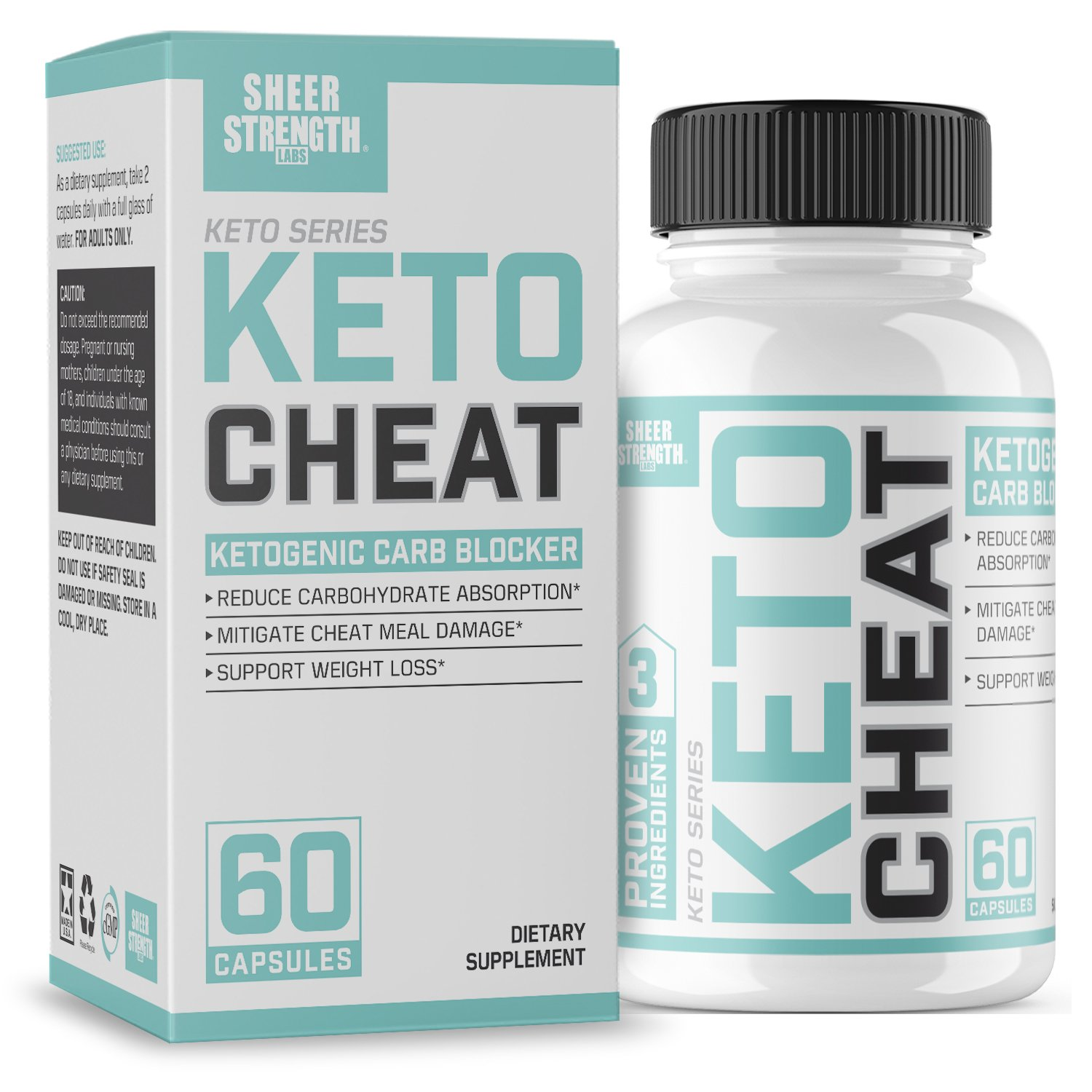 Extra Strength Ketogenic Carb Blocker & Appetite Suppressant - Promotes Healthy Weight Loss - White Kidney Bean, Green Tea Extract, Cinnamon - 60 Fat Burner Pills - Sheer Strength Labs by Sheer Strength Labs