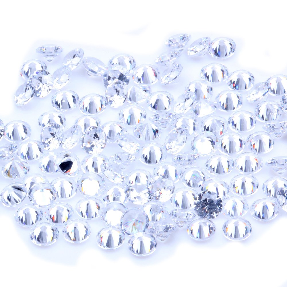 200pcs 0.8~4mm and Mix Sizes 5A Sample White Round Machine Cut Lab Created Loose Cubic Zirconia CZ Stone Synthetic Gems for Jewelry DIY (Mix Sizes 0.8-4mm) Nizi
