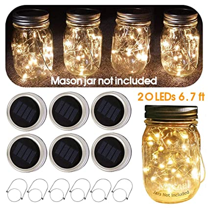 bfd9d30a9161b Amazon.com   6 Pack Mason Jar Solar Lights with Hangers
