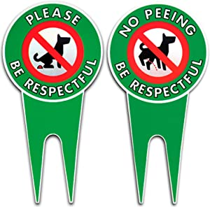 Art Wall Decor Bundle Pack No Peeing/Pooping Be Respectful Dog Sign Stop Dogs from Pooping and Peeing On Your Lawn Sign Politely Reads Please Be Respectful Protect Your Property! (No Pee/PooPack of 2)