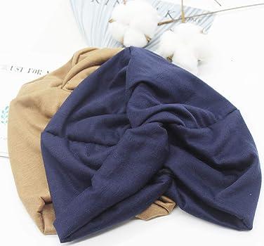 2 Piezas Pañuelos Oncológicos Turbante Gorros Oncológicos Mujer Pañuelos Quimioterapia Cabeza Mujer Algodón Elástico Frontal Cruzado Turbante para Mujer Cáncer Pérdida de Pelo (Azul Marino+Caqui): Amazon.es: Ropa y accesorios