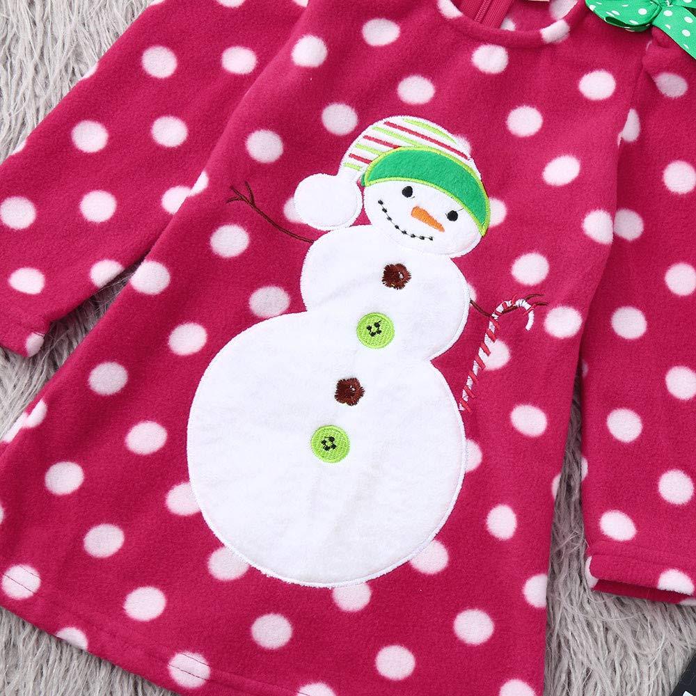 Ansenesna Weihnachten Kost/üm Baby M/ädchen Cartoon Snowman Kleid Soft Elegant Weihnachts Kleidung