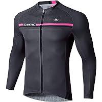 Santic Cycling Jersey Men's Bike Jersey Long Sleeve Bike Shirts Full Zip Bicycle Jacket with Pockets