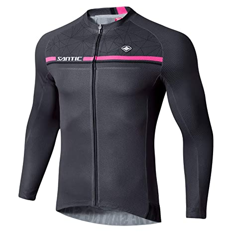 Santic Cycling Jersey Men s Long Sleeve Bike Reflective Full Zip Bicycle  Shirts with Pockets Grey XS 2bc6e3bff