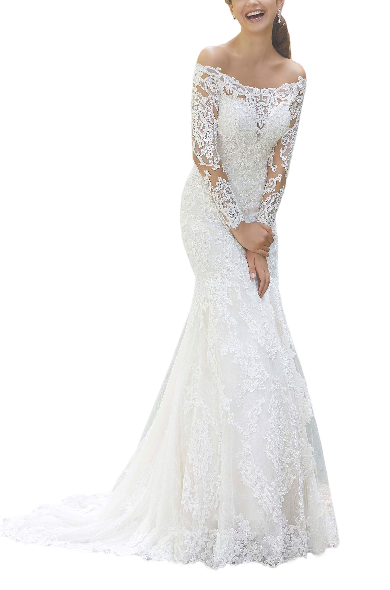Mythlove Women S Wedding Dress Long Sleeves Sheer Train With Scalloped Hemline Fit And Flare Lace Bridal Gowns