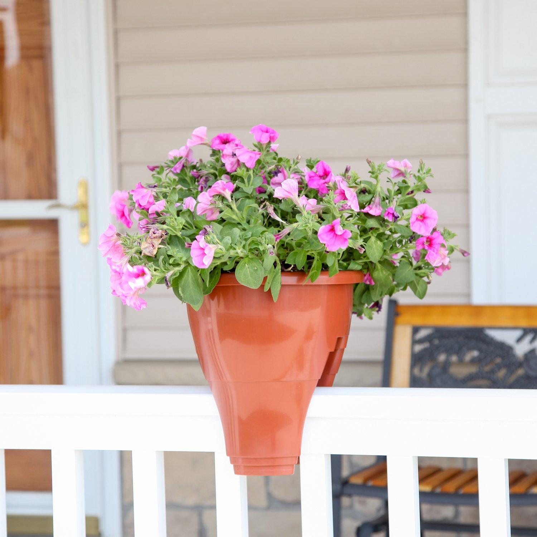 Home-X Patio Rail Planter, Railing Flower Pot