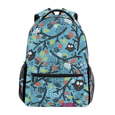 COOSUN Búhos y floral Casual Mochila Mochila Escolar bolsa de viaje Multicolor