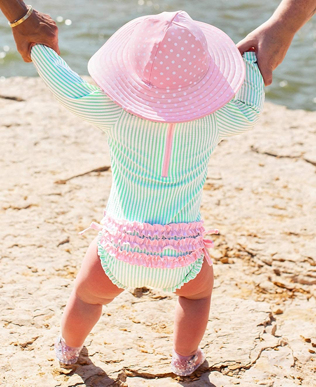 Sun Protection RuffleButts Baby//Toddler Girls Long Sleeve One Piece Swimsuit with UPF 50